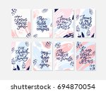 vector set of cards with... | Shutterstock .eps vector #694870054