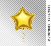 3d golden balloon  star shape ... | Shutterstock .eps vector #694875859