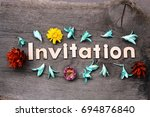 invitation lettering.wood... | Shutterstock . vector #694876840