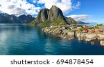 fishing hut in the hamnoy ...   Shutterstock . vector #694878454