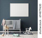 mock up poster in the children... | Shutterstock . vector #694879630
