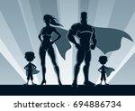 superhero family posing in... | Shutterstock .eps vector #694886734
