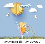 back to school 1 september card ... | Shutterstock .eps vector #694889380