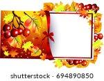 autumn background.autumn.rowan... | Shutterstock .eps vector #694890850