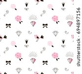 tiny pink objects pattern | Shutterstock .eps vector #694897156