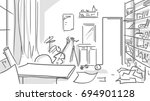 creative mess room black and... | Shutterstock .eps vector #694901128