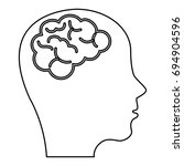 brain storming with head profile | Shutterstock .eps vector #694904596