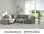 idea of white minimalist room... | Shutterstock . vector #694912564
