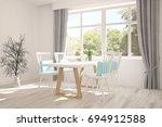 white dinner room with green... | Shutterstock . vector #694912588
