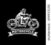 skull rider motorcycle... | Shutterstock .eps vector #694915150