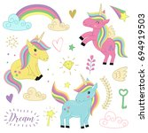 set  of isolated unicorns and... | Shutterstock .eps vector #694919503