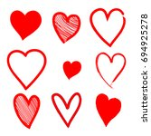 set of hand drawn red hearts in ... | Shutterstock .eps vector #694925278