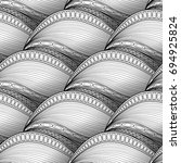 vector monochrome wave seamless ... | Shutterstock .eps vector #694925824