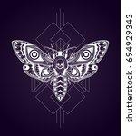 stylized death's head hawkmoth. ...   Shutterstock .eps vector #694929343