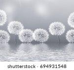 seeds. fluffy dandelion flower... | Shutterstock . vector #694931548