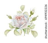 Stock photo hand drawn watercolor delicate white rose bouquet 694932226
