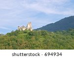 Small photo of Collapsed old castle of Erbia near Perino, Valtrebbia, Italy