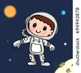 cute astronaut  and space | Shutterstock . vector #694943878
