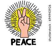 peace pin up and t shirt design | Shutterstock .eps vector #694943926