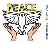 peace pin up and t shirt design | Shutterstock .eps vector #694943938