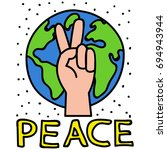 peace pin up and t shirt design | Shutterstock .eps vector #694943944
