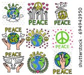 peace pin up and t shirt design | Shutterstock .eps vector #694943950