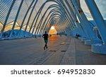 a runner at the sun set.  | Shutterstock . vector #694952830