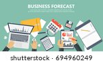 business forecast banner. flat... | Shutterstock .eps vector #694960249