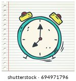 clock doodle color icon isolated | Shutterstock .eps vector #694971796