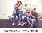 group of friends having party... | Shutterstock . vector #694978648