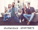 group of friends having party... | Shutterstock . vector #694978873