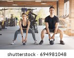 young couple exercise together... | Shutterstock . vector #694981048
