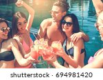 group of friends together in... | Shutterstock . vector #694981420