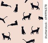 seamless pattern of cats. dark... | Shutterstock .eps vector #694996378