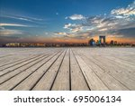 empty wooden footpath front... | Shutterstock . vector #695006134