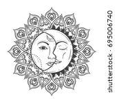 sun eclipse concept. vector... | Shutterstock .eps vector #695006740