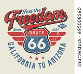 feel the freedom  route 66  ... | Shutterstock .eps vector #695008360