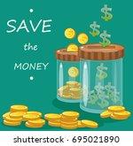bank  jar  money save money ... | Shutterstock .eps vector #695021890