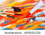 paints and paint brushes | Shutterstock . vector #695031220