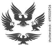 heraldry eagles  hawks and... | Shutterstock .eps vector #695033926