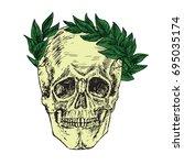 skull in laurel crown  hand... | Shutterstock .eps vector #695035174