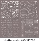 big set of hand drawn design... | Shutterstock .eps vector #695036236