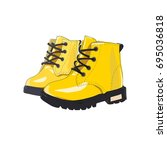 yellow shoes with black soles....   Shutterstock .eps vector #695036818