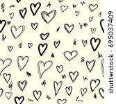 seamless background with hearts.... | Shutterstock .eps vector #695037409