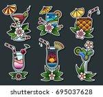vector set of cocktail glasses... | Shutterstock .eps vector #695037628