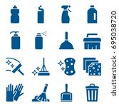 set of cleaning tools icons.... | Shutterstock .eps vector #695038720