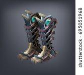iron fantasy armor boots for... | Shutterstock .eps vector #695051968