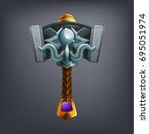 fantasy hammer weapon for game... | Shutterstock .eps vector #695051974