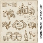 wine. vintage set. | Shutterstock .eps vector #695054389