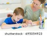 teacher woman learn to write... | Shutterstock . vector #695054923